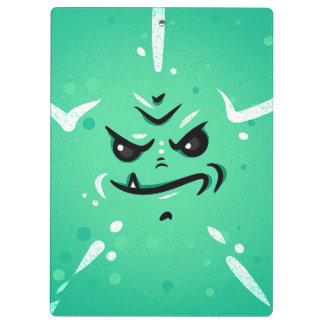 Funny Green Monster Face with Smirky Smile Clipboard