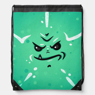 Funny Green Monster Face with Smirky Smile Drawstring Bag