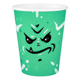 Funny Green Monster Face with Smirky Smile Paper Cup