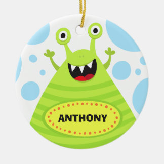 Funny green monster kids door hanger or nursery ceramic ornament