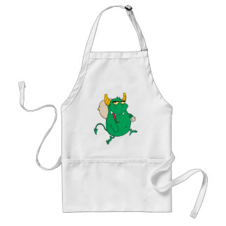 funny green monster with sac aprons