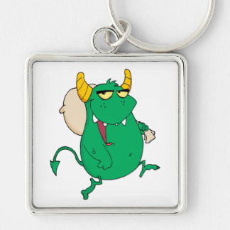 funny green monster with sac key chains