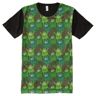 Funny Green Monsters Pattern T-Shirt