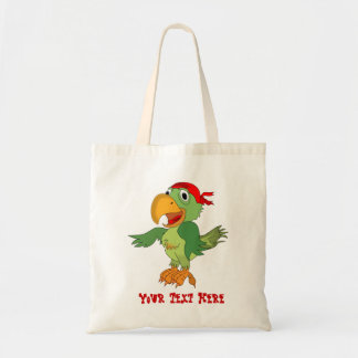 Funny Green Parrot with Red Bandana Bag