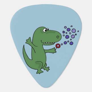 Funny Green T-Rex Dinosaur Blowing Bubbles Guitar Pick