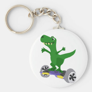 Funny Green T-Rex Dinosaur on Motorized Skateboard Keychain