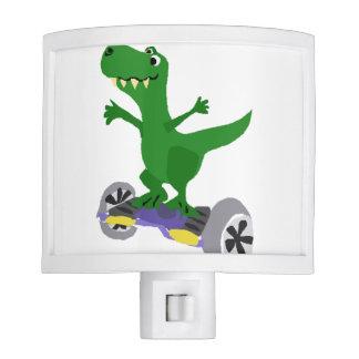 Funny Green T-Rex Dinosaur on Motorized Skateboard Night Lite