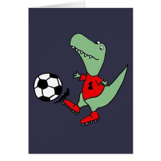 Funny Green T-rex Dinosaur Playing Soccer Card
