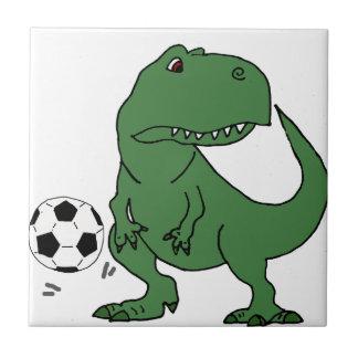 Funny Green T-rex Dinosaur Playing Soccer Tile
