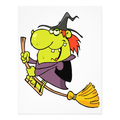 funny green witch riding broomstick on halloween flyers