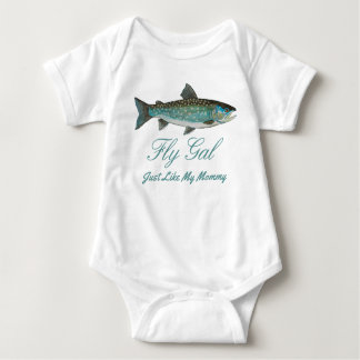 Funny Greenland Char Mother and Child Fly Fishing Baby Bodysuit
