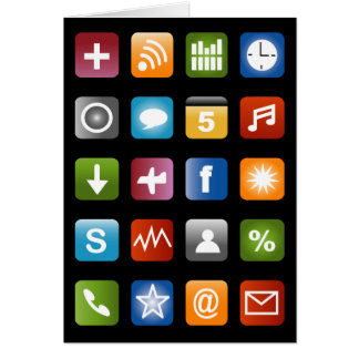 Funny greeting card with social media app icons