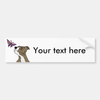 Funny Grey and White Pitbull and Butterfly Bumper Sticker
