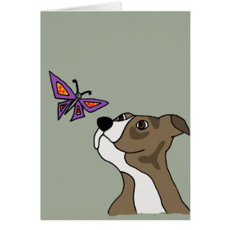 Funny Grey and White Pitbull and Butterfly Card