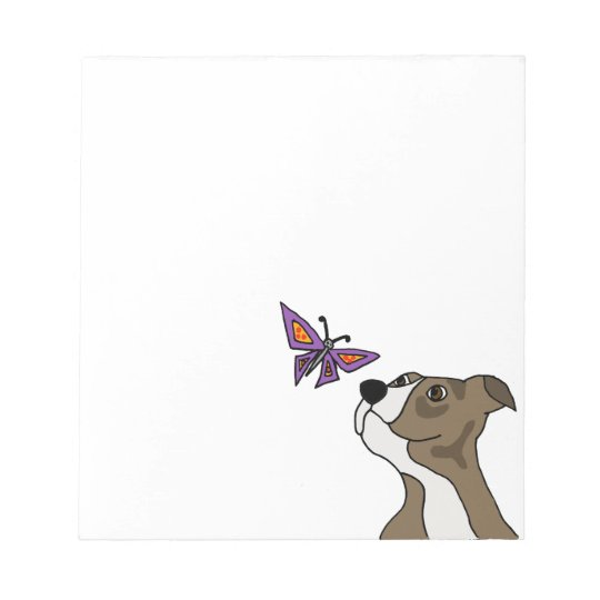 Funny Grey and White Pitbull and Butterfly Notepad
