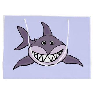 Funny Grey Grinning Shark Cartoon Large Gift Bag