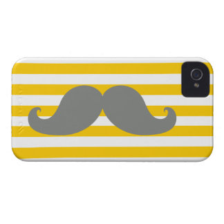 Funny Grey Mustache Yellow Stripes Case-Mate iPhone 4 Cases