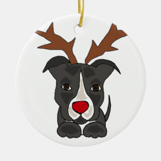 Funny Grey Pitbull Dog as Christmas Reindeer Round Ceramic Ornament