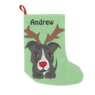 Funny Grey Pitbull Dog Christmas Stocking Small Christmas Stocking