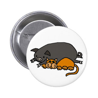 Funny Grey Pot Bellied Pig Sleeping with Orange Ca 2 Inch Round Button