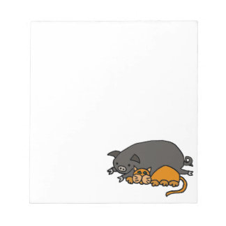 Funny Grey Pot Bellied Pig Sleeping with Orange Ca Notepad