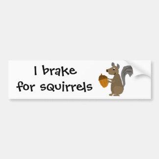 Funny Grey Squirrel with Acorn Bumper Sticker