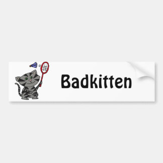 Funny Grey Tiger Cat Playing Badminton Bumper Sticker