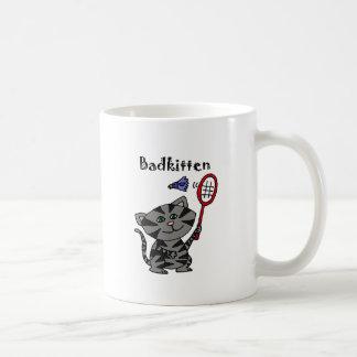 Funny Grey Tiger Cat Playing Badminton Coffee Mug