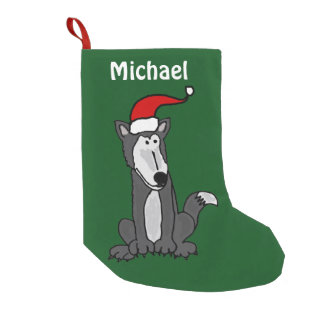 Funny Grey Wolf Christmas Stocking