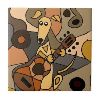 Funny Greyhound Dog Playing Guitar Abstract Tile