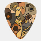 Funny Greyhound Dog Playing Guitar Art Guitar Pick