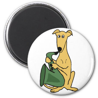 Funny Greyhound Dog Playing Saxophone Art Magnet