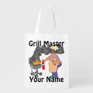 Funny Grill Master Personalized Reusable Grocery Bag