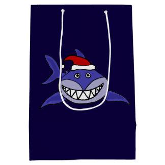 Funny Grinning Shark Christmas Gift Bag