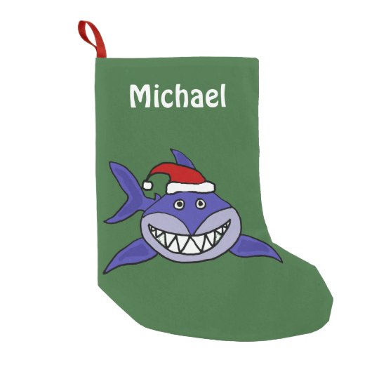 Funny Grinning Shark in Santa Hat Small Christmas Stocking