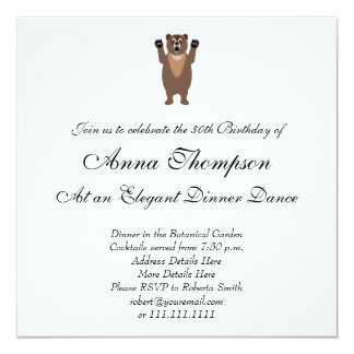 "Funny Grizzly Bear Cartoon 5.25"" Square Invitation Card"