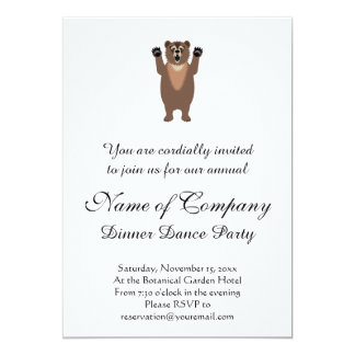 "Funny Grizzly Bear Cartoon 5"" X 7"" Invitation Card"