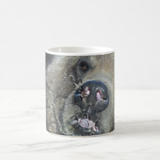 Funny Grizzly Bear Cub Licking The Glass Window Coffee Mug