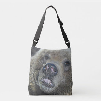 Funny Grizzly Bear Cub Licking The Glass Window Crossbody Bag