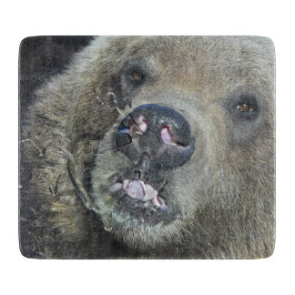Funny Grizzly Bear Cub Licking The Glass Window Cutting Board