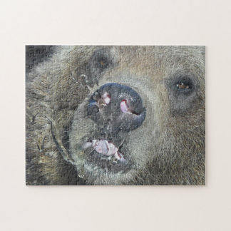 Funny Grizzly Bear Cub Licking The Glass Window Jigsaw Puzzle