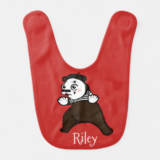 FUNNY GRIZZLY BEAR MIME BABY BIB