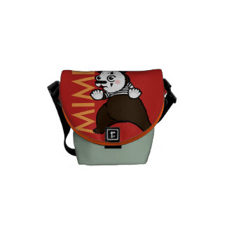 FUNNY GRIZZLY BEAR MIME MINI MESSENGER BAG