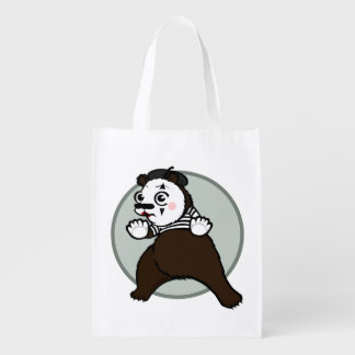 FUNNY GRIZZLY BEAR MIME REUSABLE SHOPPING BAG