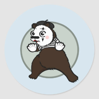 FUNNY GRIZZLY BEAR MIME ROUND STICKERS