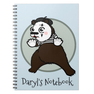 FUNNY GRIZZLY BEAR MIME SPIRAL NOTEBOOK