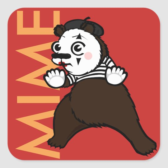 FUNNY GRIZZLY BEAR MIME SQUARE STICKERS