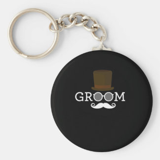 Funny Groom Mustache & Hat  for Bachelor's Party Basic Round Button Keychain
