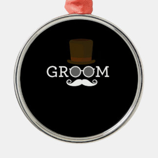 Funny Groom Mustache & Hat  for Bachelor's Party Metal Ornament