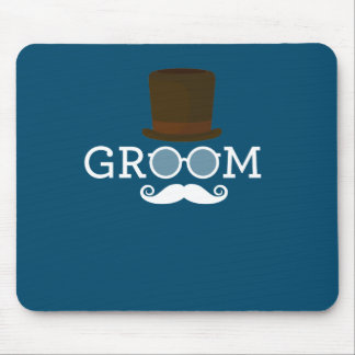 Funny Groom Mustache & Hat  for Bachelor's Party Mouse Pad